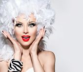 pic of wig  - Funny Surprised Woman in white feather wig - JPG