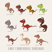 stock photo of giant lizard  - Set of Early carnivorous dinosaurs eps10 vector format - JPG
