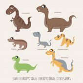 image of herbivorous  - Set of Early herbivorous herbivorous dinosaurs eps10 vector format - JPG