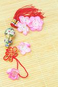 picture of gourds  - Chinese New Year Bottle Gourd Ornament on Bamboo Mat - JPG