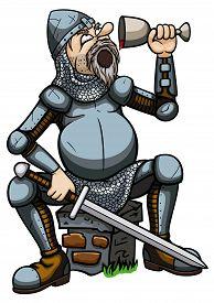 picture of debauchery  - Illustration a cartoon tired knight - JPG