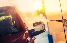 stock photo of pressure-wash  - Self Car Wash Car Cleaning - JPG