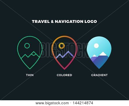 poster of GPS logo. GPS vector. GPS icon. Navigation vector logo. Navigation vector icon. Travel logo. Travel icon. Travel vector logo. Travel vector. GPS logo. GPS icon. Navigation logo set