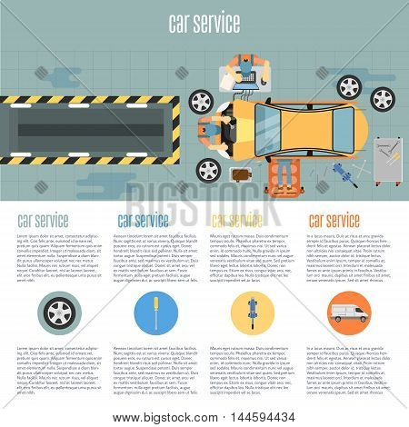 poster of Infographics of scene presents workers in car service tire service and car repair vector illustration. Car repair service. Car service station. Service man. Car service background concept.