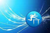 Hurdle Button on Blue Abstract Light Background Original Illustration
