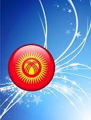 Kyrgyzstan Flag Button on Abstract Light Background Original Illustration