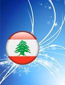 Lebanon Flag Button on Abstract Light Background Original Illustration