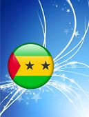 Sao Tome Flag Button on Abstract Light Background Original Illustration