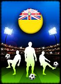Niue Flag Button with Soccer Match in Stadium Original Illustration