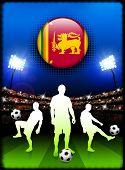 Sri Lanka Flag Button with Soccer Match in Stadium Original Illustration