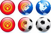 Kyrgyzstan Flag Button with Global Soccer Event Original Illustration