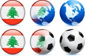 Lebanon Flag Button with Global Soccer Event Original Illustration