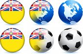 Niue Flag Button with Global Soccer Event Original Illustration