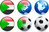 stock photo of north sudan  - Sudan Flag Button with Global Soccer Event Original Illustration - JPG