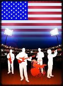 USA Live Music Band on Stadium Concert Background with Flag Original Illustration