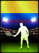 Columbia Flag and Tennis Player on Stadium Background Original Illustration