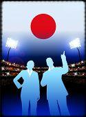 Постер, плакат: Япония бизнес пара на стадион фон оригинальные иллюстрации
