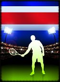 Costa Rica Flag with Tennis Player on Stadium Background Original Illustration