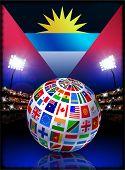 Bandera de antigua con globo en estadio fondo ilustración Original