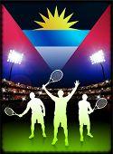 Bandera de antigua con el tenista en estadio fondo ilustración Original