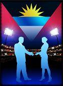 Bandera de antigua con par de negocios en estadio fondo ilustración Original