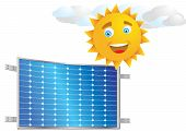 Vector Illustration Of Solar Cell And Sun