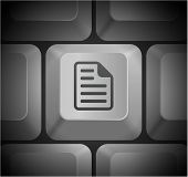 Document Icon on Computer Keyboard Original Illustration