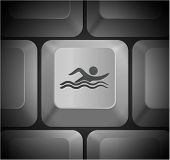 Swimming Icon on Computer Keyboard Original Illustration