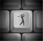 Golf Icon on Computer Keyboard Original Illustration