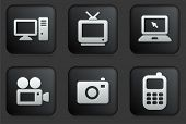 Technology Icons on Square Black Button Collection Original Illustration