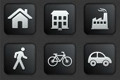 Environment Icons on Square Black Button Collection Original Illustration