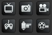 Media Icons on Square Black Button Collection Original Illustration