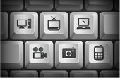 Electronics Icons on Computer Keyboard Buttons Original Illustration