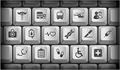 Medical Icons on Gray Computer Keyboard Buttons Original Illustration