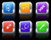 Medical Icons on Square Button Collection with Metallic Rim Original Illustration