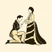Classic victorian one knee proposal