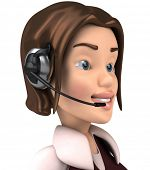 3D woman with a headset