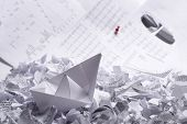 Business concept of paper boat and documents