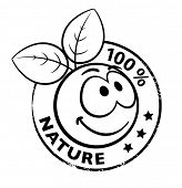 stock photo of smiley face  - Stamp Of A Organic Smiley With Leaves - JPG