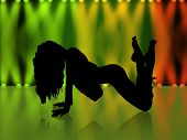 Girl'S Silhouette In The Night Club With Green Light