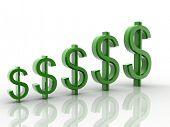 Digital illustration of Dollar sign in 3d on white background