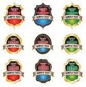 VECTOR Colorful Vintage Emblems with Space for text and Golden frame