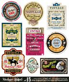 Vintage Labels Collection - neun Designelemente mit original antikem Stil - Set 15