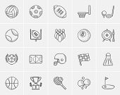 Sport sketch icon set for web, mobile and infographics. Hand drawn sport icon set. Sport vector icon poster