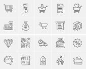 Shopping sketch icon set for web, mobile and infographics. Hand drawn shopping icon set. Shopping ve poster