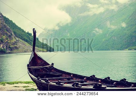 Old Wooden Viking Boat On