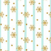 Christmas Gold Snowflake Seamless Pattern. Golden Glitter Snowflakes On Blue White Lines Background. poster