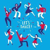Dancing People Cartoon Set poster