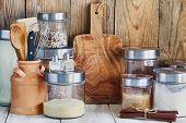 Arrangement Of Dry Food Products And Kitchen Utensils In The Kitchen. Home Kitchen Rustic Still Life poster