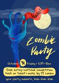 Zombie Party Poster With Zombie Hand In Graveyard At Full Moon. Walking Dead In Cemetery Illustratio poster